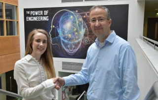Scholarship Award: Aoife Grady with Dr. Derek Molloy of the School of Electronic Engineering