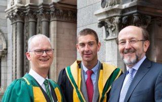 Professor Liam Barry (centre) with Professor Michael Peter Kennedy (President of the RIA, left) & Professor Brian MacCraith (DCU President, right)