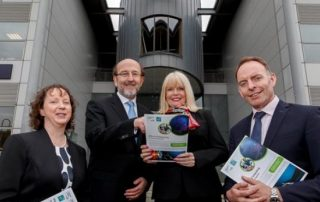 Prof Lisa Looney (Executive Dean, Faculty of Engineering & Computing), Prof Brian MacCraith (President, DCU), Mary Mitchell O'Connor T.D. (Minister of State for Higher Education), Mr Paul Healy (Chief Executive, Skillnet Ireland) outside the Stokes Building, DCU